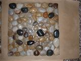 Mixed pebble stone on net mosaic