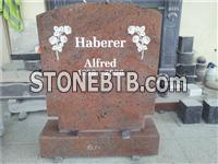 Red Granite Headstone with Flower Carving