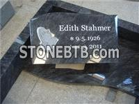 European style ogee carved rose granite headstone