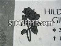 rose carving white marble headstone