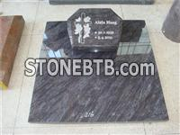 rose carving granite tombstone