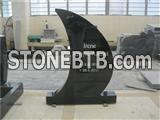 European style granite carved hand tombstone with kerbs