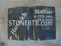 book shape black granite cemetery tombstone
