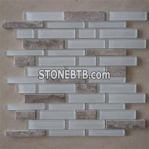 Super White Crystal Glass & Marble Mosaic CTR-GM-S