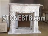 White Marble Fireplace Design Custom-Made Carving with  Decorative Design