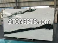 China Panda white marble slabs white and black marble tiles price floor decor