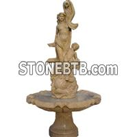 natural beige marble stone fountain