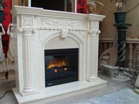 cream marfil fireplace mantel