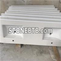 Prefabrication white quartz marble color bath room counter top for exporting .