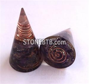 Amethyst Orgonite Cone   Orgone-Orgone Energy Amethyst Antenna (With Crystal Point)   Wholesaler-Manufacturer-Supplier-Exporter