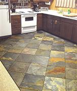 Yellow slate tiling