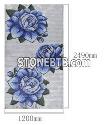 Blue Flower Pattern Mosaic Artisitic Drawing