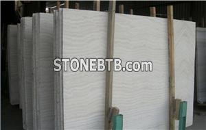 White Travertine Slab Vein Cut