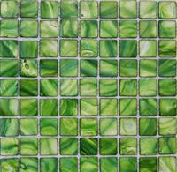 green shell mosaic tile