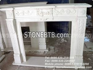 China White Marble Fireplace For Interior
