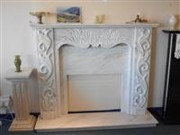 FIREPLACE MARBLE STONE CARVED
