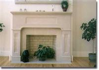 Limestone fireplace b