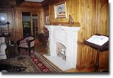 Limestone fireplace c
