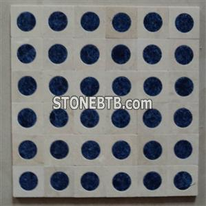 blue marble mosaic tile, white marble and light emperador marble