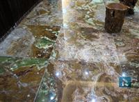 Green onyx floor tile