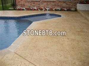 beige limestone pool surrounds
