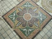 Mesh mounted mosaic round- Travertine