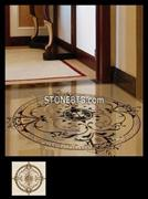 arble Water Jet Round Tile Medallion Floor Pattern