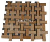 BASKET WEAVE JERUSALEM GOLD WITH BLUE MACAHUBA DOT GLASS TILES