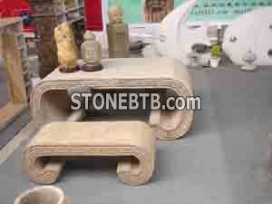 Stone Table & Bench 04