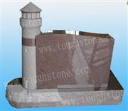 Imperial Red Tower Design Headstone