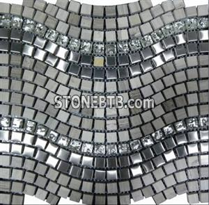 Marble Mosaic Mix Glass and Stainless Steeel PT127