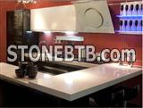 Kitchen Countertops Of Crystallized Glass Stone, White Quartz Kitchen Countertops