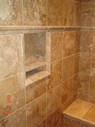 Walnut Travertine Bathroom Wall
