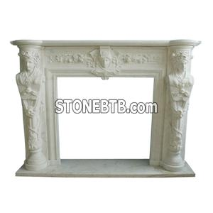 Carved White Marble Fireplace
