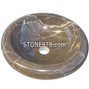 Supply Natural Marble Vessel Sinks Basin Bowl For Home / Hotel / School / Spa Bathroom