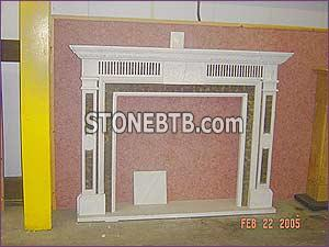 White Green marble Fireplace