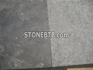 hone and flamed blue limestone tiles