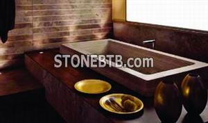 Glove Built-in Bathtub in Becagli Travertine