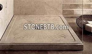 Sand Shower Tray in Classic Travertine