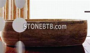 Boat Bathtub in Golden Travertine