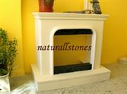Fireplace Carved from Yellow travertine