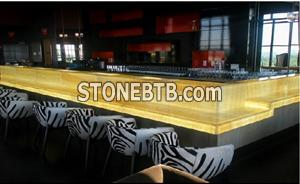 Honey Onyx Laminated With Glass Bar