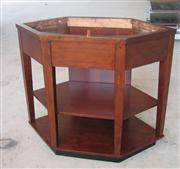 Hexagon Cherry Color Bathroom Wood Base (Cabinet)