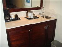 hotel White artificial stone with bathroom cabinet(wooden base)