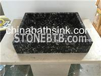 Black Marble Sink, Black Fossil Marble Basin,Nature Stone Wash Basin