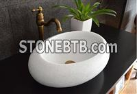 Crystal White Marble Sinks,White Stone Basins