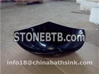 China Black Margunia Marble Bathroom Sinks