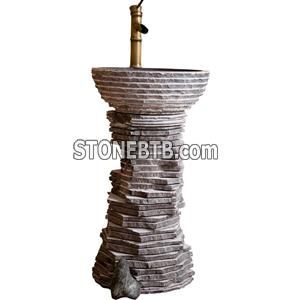China Blue Limestone Pedestal Sink