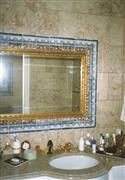 Limestone vanity and wall tiles