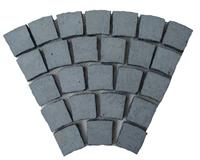 Fan Shape Cobble on Mesh(Basalt Black)